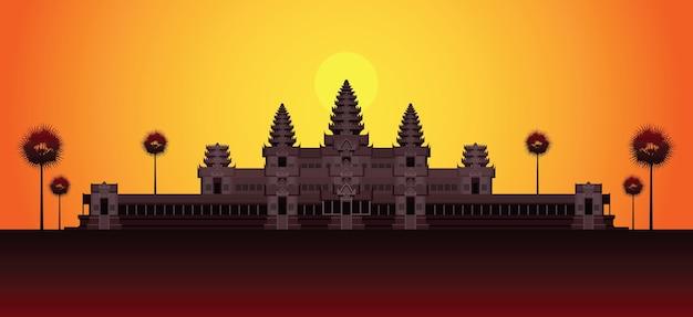 Angkor Wat W Sunrise Kambodża Landmark Premium Wektorów
