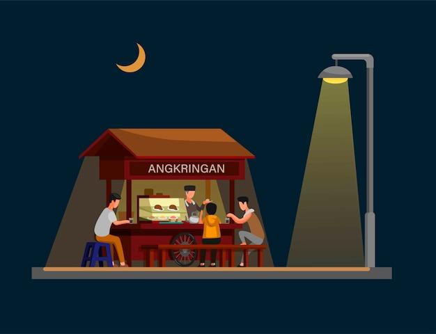 Angkringan To Tradycyjne Nocne Jedzenie Uliczne Z Jogjakarty W Indonezji. Koncepcja W Ilustracja Kreskówka Premium Wektorów