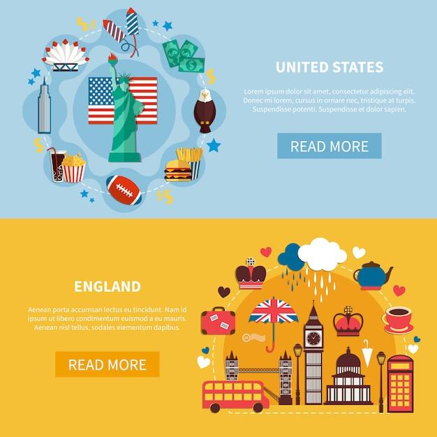Anglia i stany zjednoczone ustaw baner poziomy Darmowych Wektorów