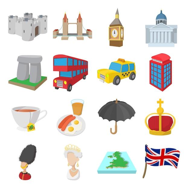 Anglia ikony ustawiać w kreskówka stylu odizolowywającym Premium Wektorów