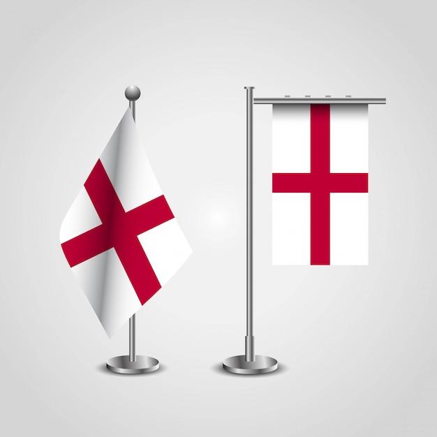 Anglia wielka brytania country flag on pole Premium Wektorów