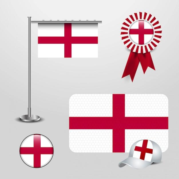 Anglia wielka brytania flaga kraju haning na biegunie, wstążka banner odznaka, czapka sportowa i okrągły przycisk Premium Wektorów