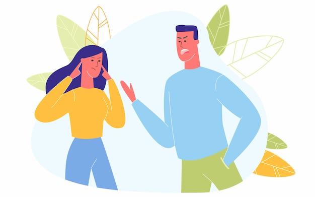 Angry Couple Argumentując Krzycząc Obwiniając Się Nawzajem Premium Wektorów