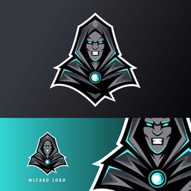Angry wizard sport esport logo szablon czarny mundur w niebieskim blasku Premium Wektorów