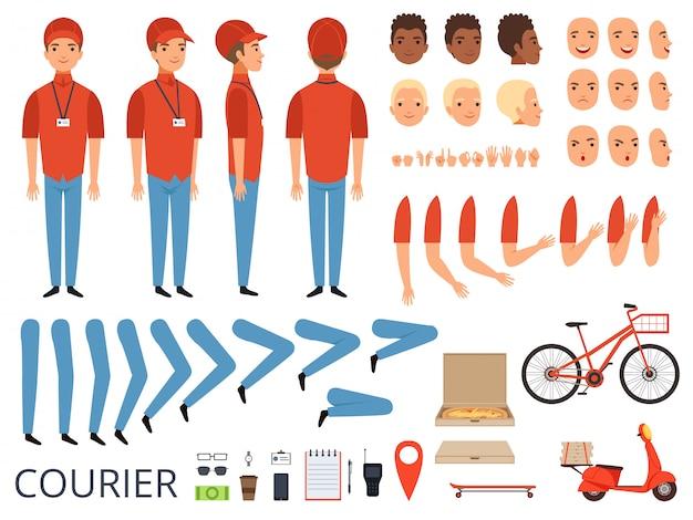 Animacja Dostawy Pizzy. Części Ciała Kuriera Fast Food Z Profesjonalnym Zestawem Do Tworzenia Postaci W Pudełku Na Rower Premium Wektorów