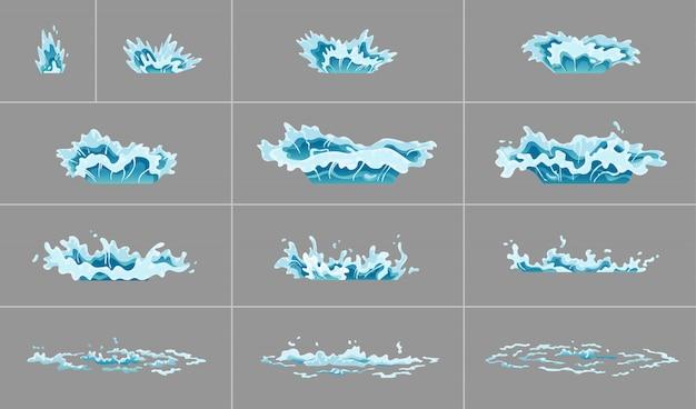 Animacja Plusk Wody Sprite. Fale Uderzeniowe Na Przezroczystym Tle. Ruch Sprayu, Odpryski, Kroplówka. Klatki Z Czystą Wodą Do Animacji Flash W Grach, Filmach I Kreskówkach Premium Wektorów