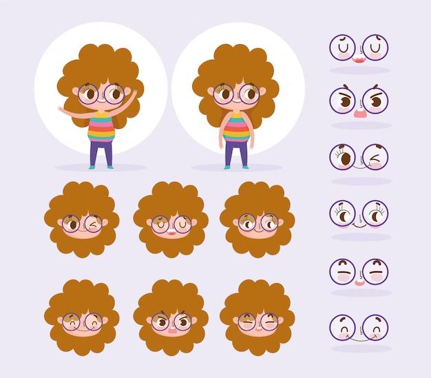 Animacja postaci z kreskówek dziewczynka kręcone włosy z kreskówek twarzy emocje i gesty Premium Wektorów