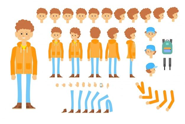 Animowana postać nastolatka w nowoczesnym stroju Darmowych Wektorów