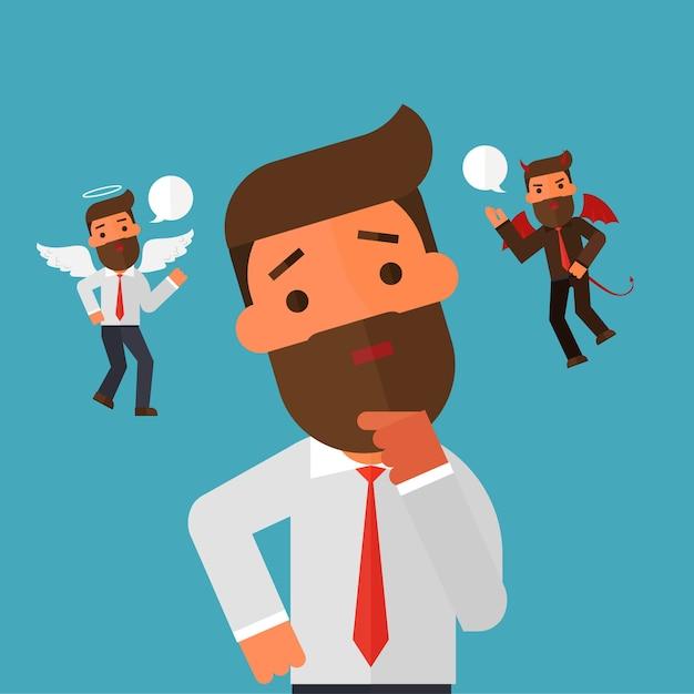 Anioł I Diabeł Unoszący Się Nad Myślącym Biznesmenem Premium Wektorów