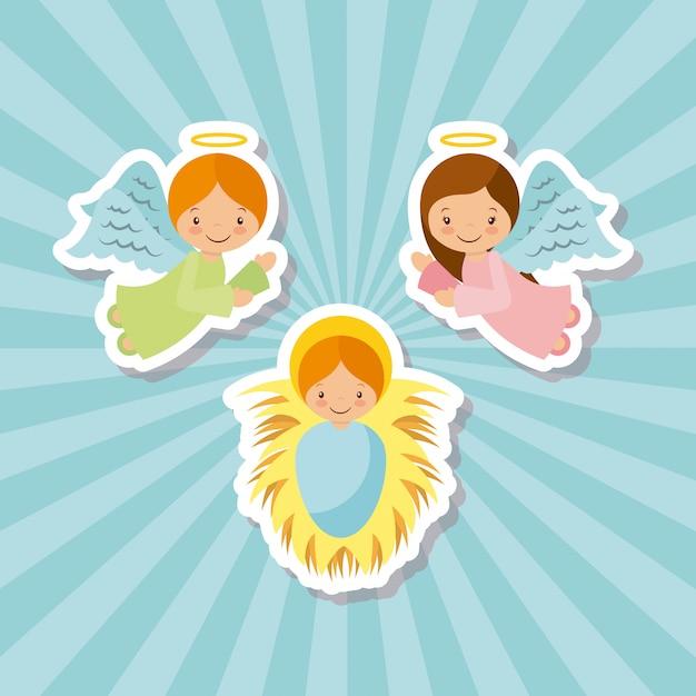Anioły Z Kreskówek I Dziecięcy Jezus Premium Wektorów