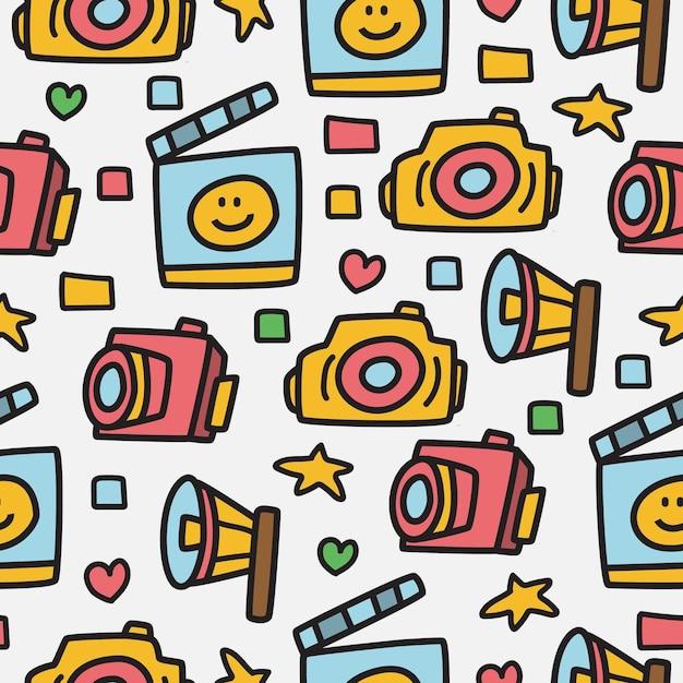 Aparat Fotograficzny Doodle Wzór Premium Wektorów