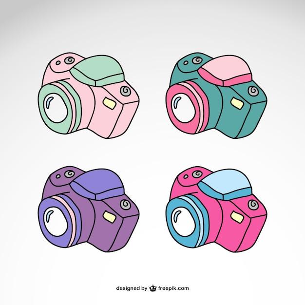 Aparaty fotograficzne ustawione projekt logo Darmowych Wektorów