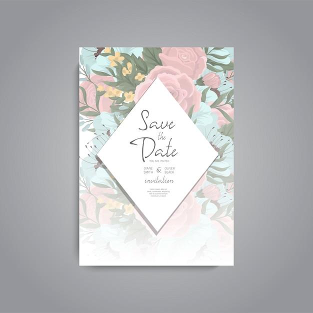 Apartament z karty zaproszenie na ślub z szablonu kwiat Darmowych Wektorów