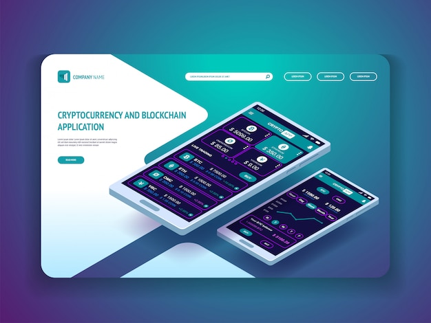 Aplikacja do kryptowaluty i blockchain do strony docelowej banerów na smartfony Premium Wektorów
