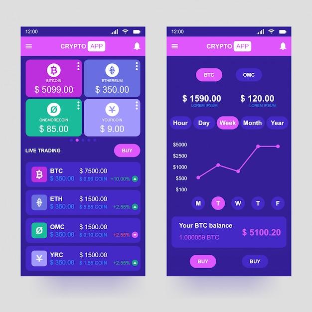 Aplikacja do kryptowaluty Premium Wektorów
