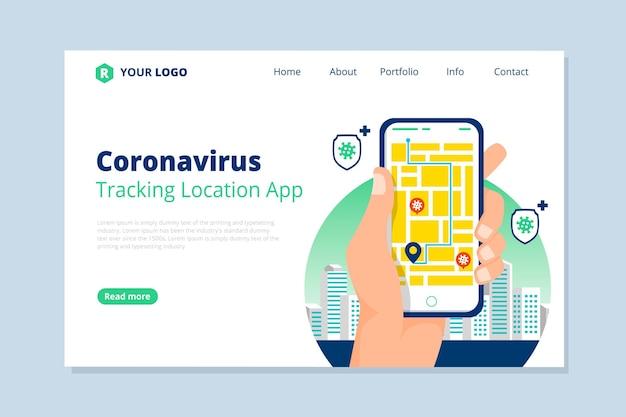 Aplikacja Do śledzenia Koronawirusa - Strona Docelowa Darmowych Wektorów