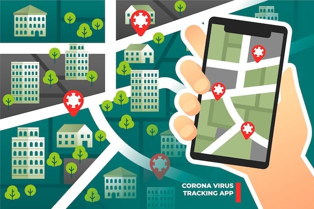 Aplikacja Do śledzenia Lokalizacji Koronawirusa - Koncepcja Darmowych Wektorów