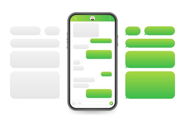 Aplikacja Interfejsu Czatu Z Oknem Dialogowym. Koncepcja Projektu Clean Mobile Ui. Sms Messenger. Premium Wektorów