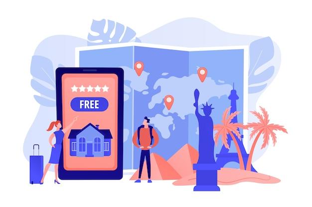 Aplikacja Mobilna Agencji Turystycznej. Wycieczki Krajoznawcze Na Całym świecie Darmowych Wektorów