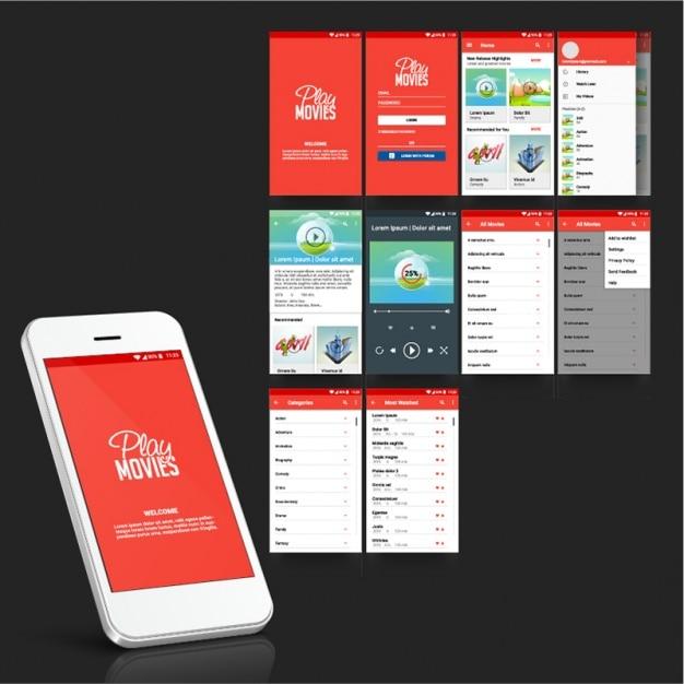 Aplikacja Mobilna Dla Filmów Premium Wektorów