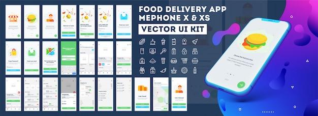 Aplikacja mobilna do dostarczania żywności. Premium Wektorów