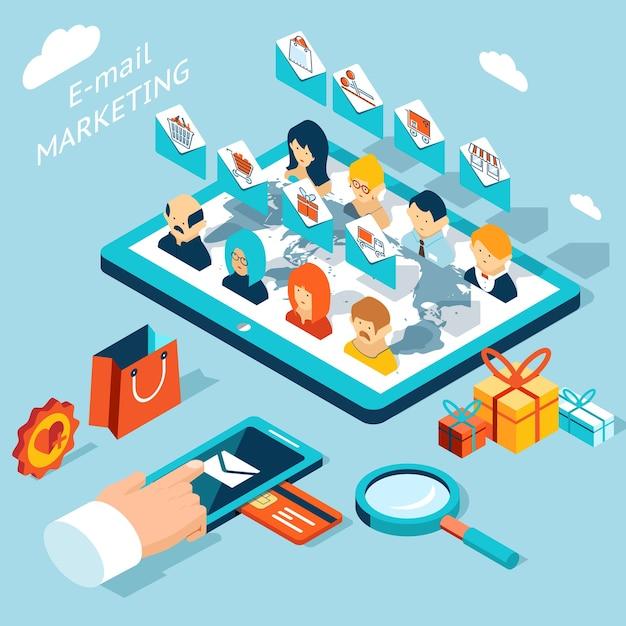 Aplikacja Mobilna Do Marketingu E-mailowego. Zarządzaj Korespondencją Ze Smartfona Lub Tabletu. Rozwój Technologii, Społeczność I Koperta, Rynek Zakupów. Darmowych Wektorów