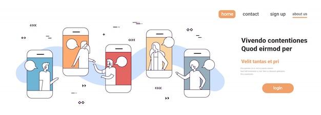 Aplikacja Mobilna Ludzie Biznesu Online Czat Bańka Sieć Społeczna Komunikacja Koncepcja Smartfon Ekran Poziome Premium Wektorów