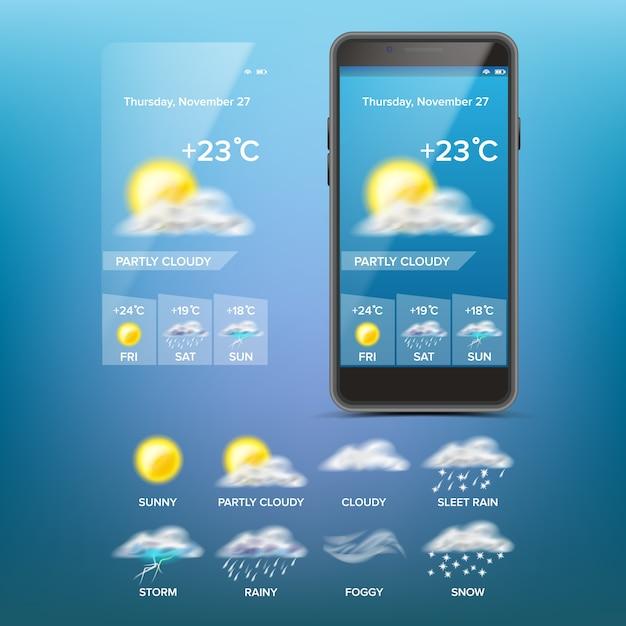 Aplikacja prognoza pogody Premium Wektorów