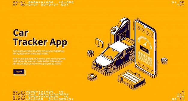 Aplikacja śledząca Samochód Izometryczna Strona Docelowa Usługa Gps Darmowych Wektorów