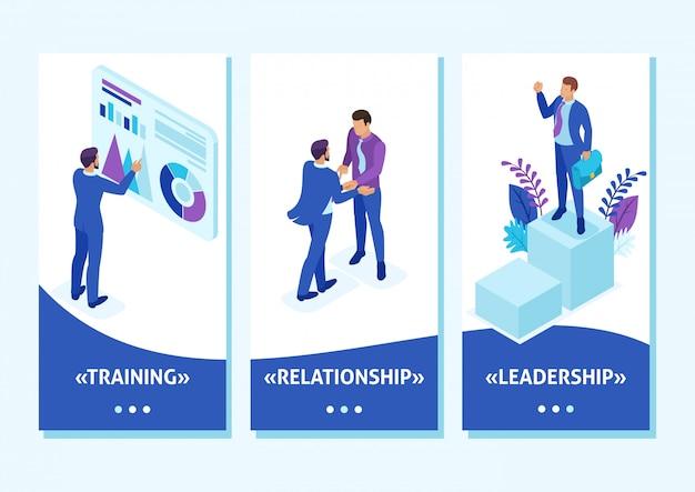 Aplikacja Szablon Izometryczny Biznesmen Na Szczycie świata, Przedsiębiorcy Rywalizują O Przywództwo, Aplikacje Na Smartfony Premium Wektorów