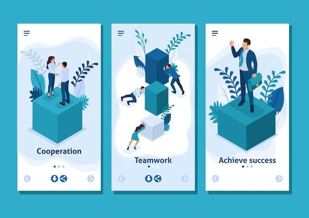 Aplikacja Szablon Izometryczny Pracownicy Współpracujący W Celu Stworzenia Rozwiązania Biznesowego, Aplikacji Na Smartfony Premium Wektorów