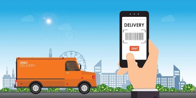Aplikacja Usługi Dostawy Na Smartfonie. Premium Wektorów