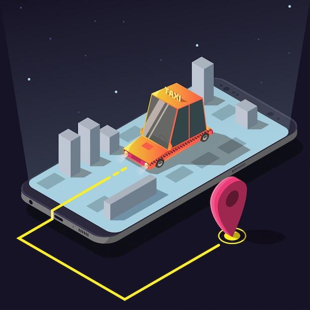 Aplikacja usługi izometrycznego zamawiania taksówek, żółta kabina Darmowych Wektorów