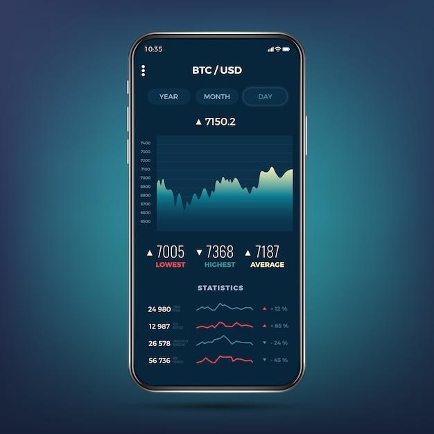 Aplikacja wymiany handlowej na ekranie telefonu. kryptowaluta bankowości mobilnej ui. Premium Wektorów