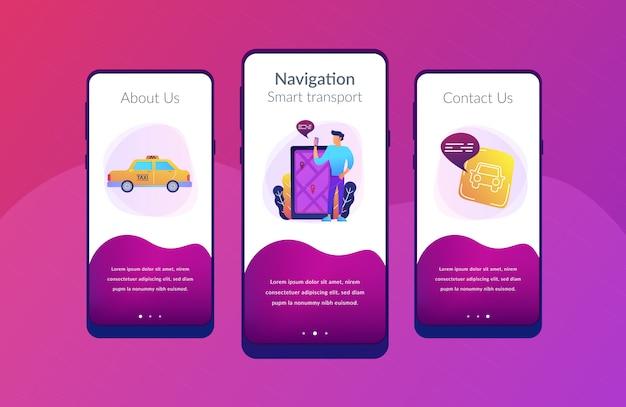 Aplikacje Do Nawigacji Po Mieście, Szablon Interfejsu Inteligentnego Miasta. Premium Wektorów