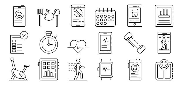 Aplikacje do zestaw ikon fitness, styl konspektu Premium Wektorów