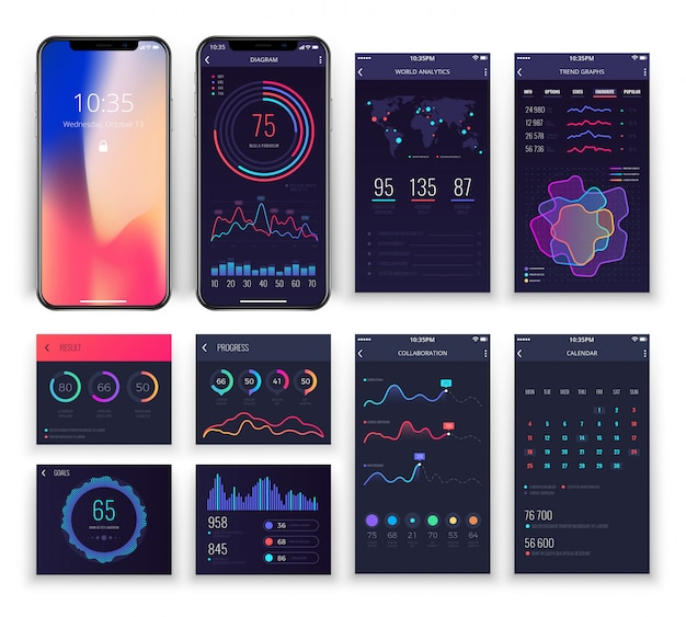 Aplikacje mobilne interfejsu ux szablony z wykresami i diagramami. Premium Wektorów