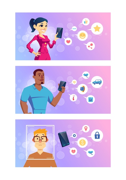 Aplikacje na smartfony do sieci społecznościowych, inteligentnych technologii, bankowości internetowej i kreskówek nawigacyjnych Darmowych Wektorów