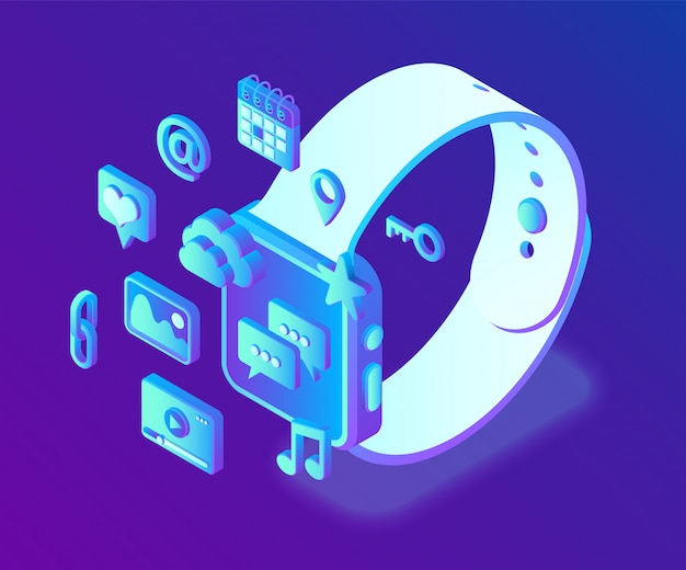 Aplikacje społecznościowe na inteligentnym zegarku. mediów społecznościowych 3d izometryczny ikony. aplikacje mobilne. Premium Wektorów