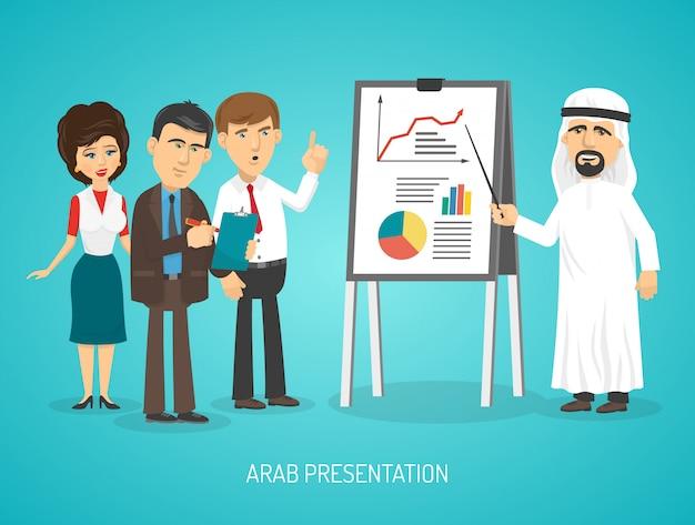 Arab w tradycyjnej arabskiej odzieży robi prezentacji z flip chart Darmowych Wektorów