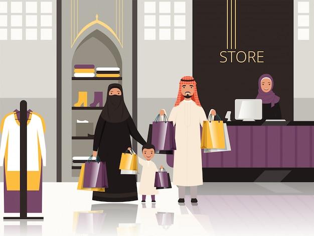 Arabia na rynku. arabska rodzina kasy w sklepie spożywczym lub supermarkecie płacą pieniądze za kreskówkę żywności Premium Wektorów