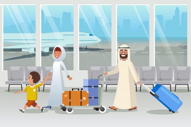 Arabia saudyjska turystów w wektor kreskówka lotnisko Premium Wektorów