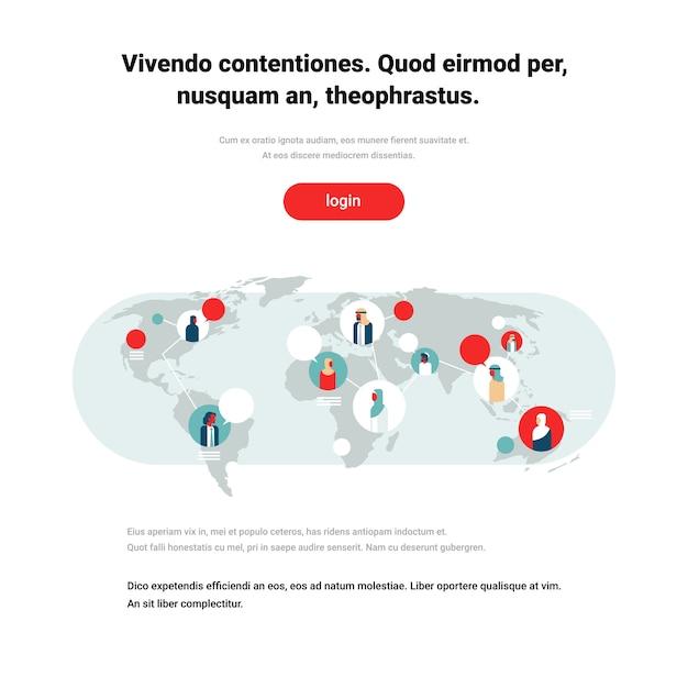 Arabowie na mapie świata czat pęcherzyki globalna komunikacja arabski charakter Premium Wektorów