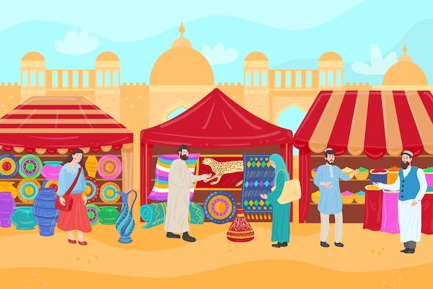 Arabska Ilustracja Bazaru Z Kupcami I Klientami Premium Wektorów