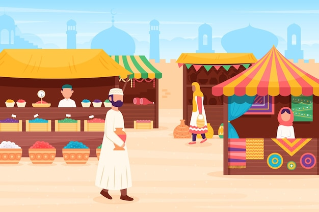 Arabska Ilustracja Bazaru Z Kupcami I Klientami Darmowych Wektorów
