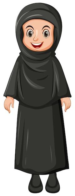 Arabska Muzułmańska Dziewczyna W Tradycyjnej Odzieży Czarny Kolor Na Białym Tle Darmowych Wektorów