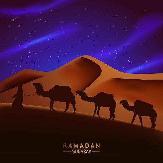 Arabska Noc Pustynna Scena Z Sylwetką Wielbłąda I Ludźmi Ilustracyjnymi Dla Ramadan Kareem Premium Wektorów