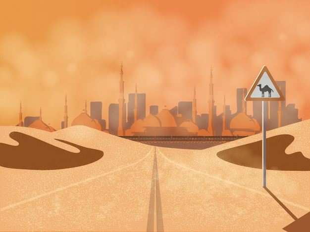 Arabska podróż odbywa się na pustynnej drodze z bliskiego wschodu z wielbłądzim znakiem drogowym, wydmami, kurzem i meczetem. Premium Wektorów