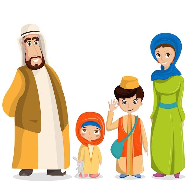 Arabska rodzina w strojach narodowych. rodzice, dzieci w muzułmańskich strojach, islamska odzież Darmowych Wektorów