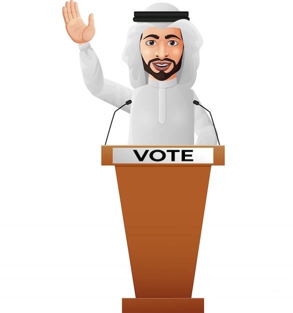 Arabski biznesmen mówca na podium prezentacji Premium Wektorów